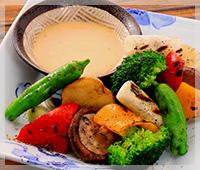 8種野菜のわら焼き バーニャカウダ風