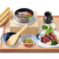 秋刀魚の釜飯と鰹のわら焼き定食