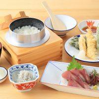 春の天ぷら盛り合わせとお刺身定食