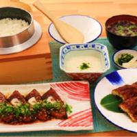 鰻のわら焼きと旨辛鰹たたき定食